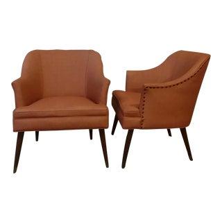 Milo Baughman Style Danish Modern Lounge Chairs - a Pair