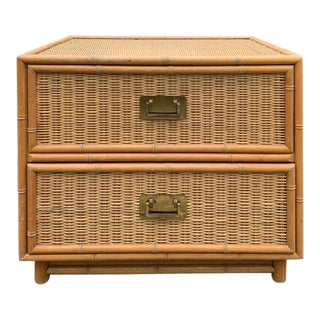 1970s Boho Chic Bamboo and Rattan Nightstand For Sale
