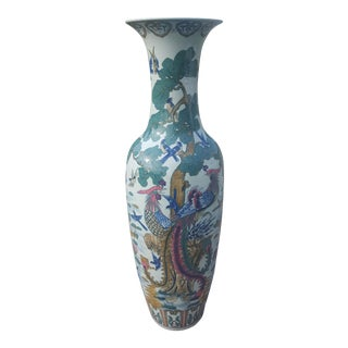 Vintage Extra Large 4 Ft 7 in Tall Chinoiserie Birds of Paradise Asian Vase Urn For Sale