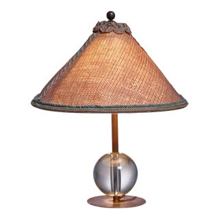 Handcrafted Art Deco Table Lamp With Crystal Glass Ball Base and Jute Shade For Sale