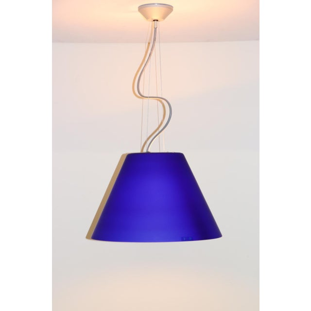 Blue Vintage Mid-Century Modern Murano Glass Pendant Lamp For Sale - Image 8 of 8