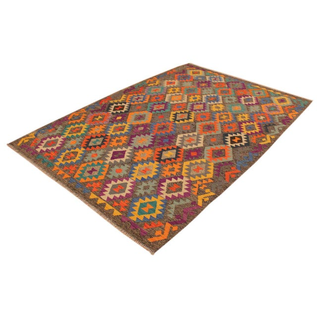 Contemporary Mary Gray/Blue Hand-Woven Kilim Wool Rug -5'10 X 8'4 For Sale - Image 3 of 8