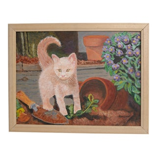 "White Kitty Original Art Shabby Chic ""Curious Cat"" Botanical Signed Painting in Wood Frame For Sale"