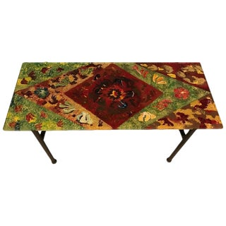 Italian Mid-Century Modern Coffee Table with Multicolored Glass Top For Sale
