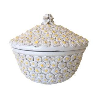Italian Porcelain Daisy Lidded Bowl