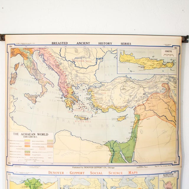 Industrial Vintage Pull Down Map of Oriental Empires | 1940s Industrial For Sale - Image 3 of 8
