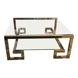 Milo Baughman Brass Greek Key Coffee Table