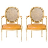 Image of 1940s Vintage Louis XVI Canedback Armchairs- a Pair For Sale