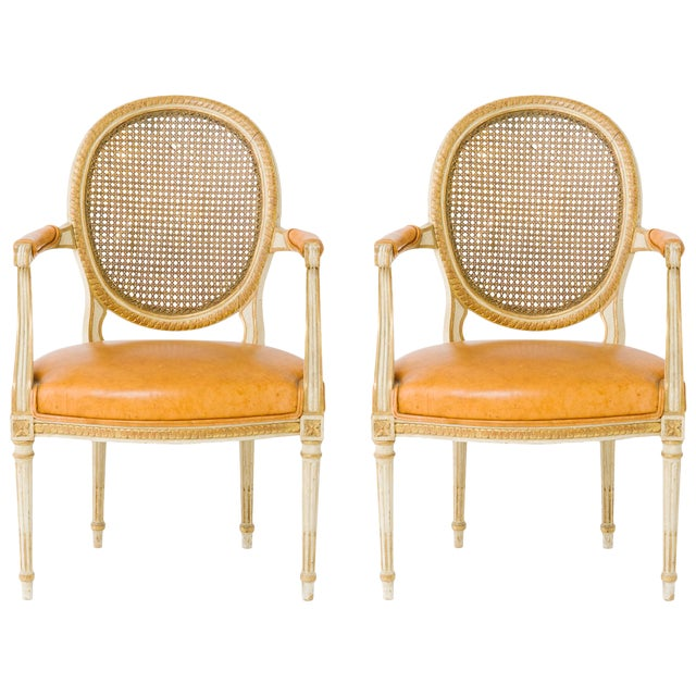 1940s Vintage Louis XVI Canedback Armchairs- a Pair For Sale
