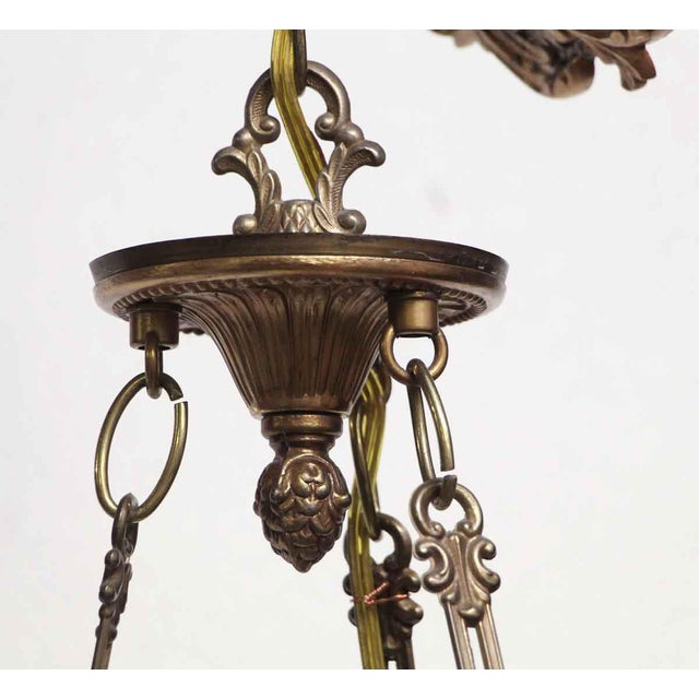 Empire Style 6 Arm Brass Chandelier With Black Finish - From the Waldorf Astoria For Sale - Image 10 of 12