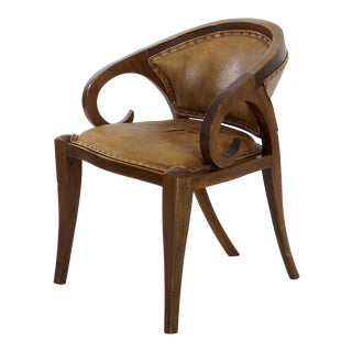 Vienna Secessionist Mahogany and Leather Scrolled Arm Chair Circa 1910