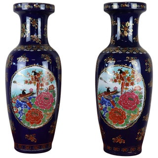 20th Century Pair of Blue Ceramic Vases With Floral Decorations For Sale
