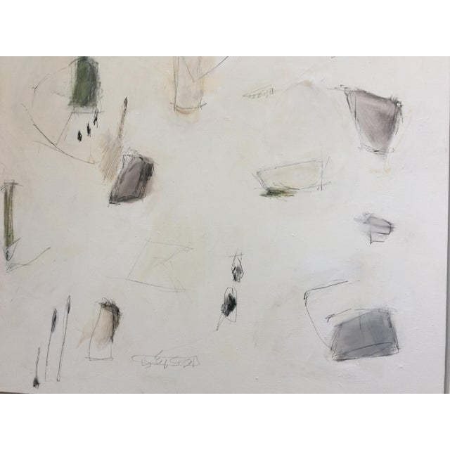 Abstract expressionism painting by Kimberly Moore. White, White Dove, parchment, camel, black, green, and charcoal....