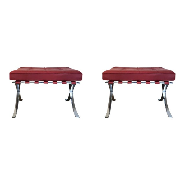 1990s Vintage Mies Van Der Rohe for Knoll Ottomans- A Pair For Sale