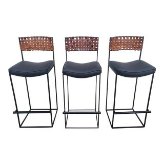 Arthur Umanoff Iron and Leather Barstools - Set of 3 For Sale
