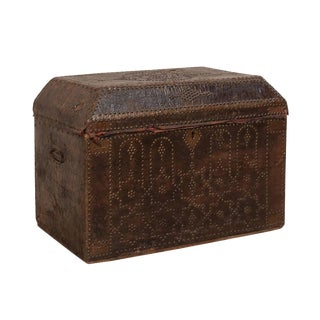 19th Century Spanish Leather Covered Trunk For Sale
