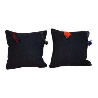 Handwoven Pom Pom Decorative Turkish Kilim Pillow Covers - a Pair For Sale
