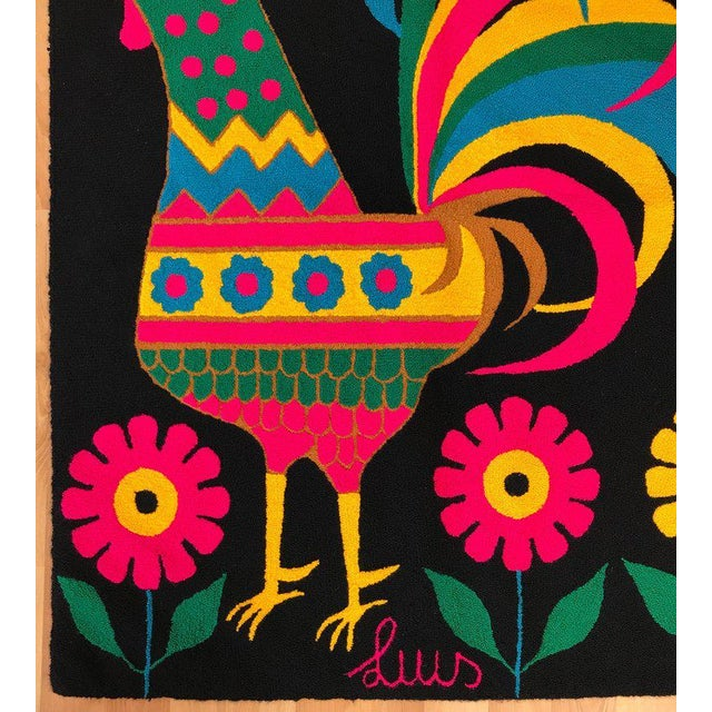 1970s Mid-Century Colorful Rooster Tapestry by Luis Montiel For Sale - Image 5 of 11