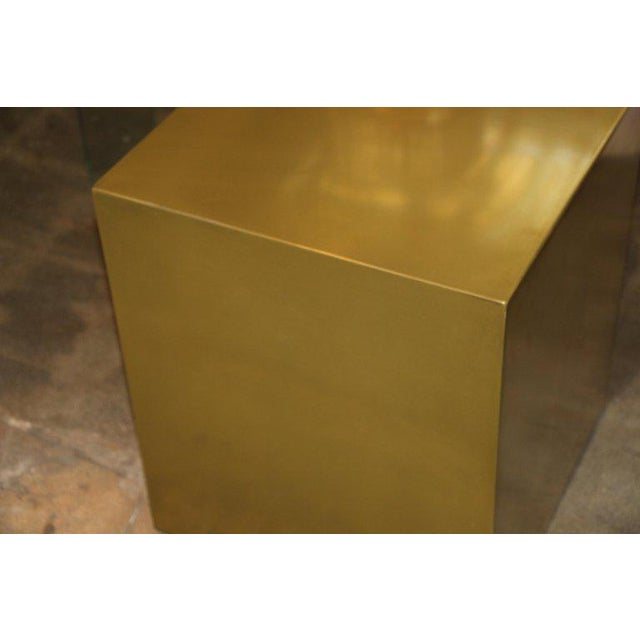 Contemporary Bridges Over Time Originals Brass Coated Cube Table For Sale In Palm Springs - Image 6 of 9