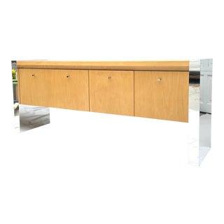 Vintage Modern Chrome and Wood Credenza Filing Cabinet For Sale