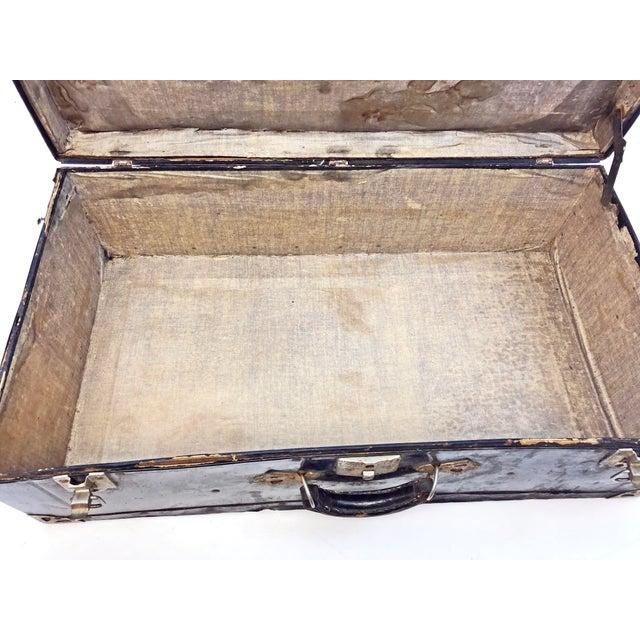 Vintage Distressed Black Metal Storage Trunk For Sale - Image 9 of 13