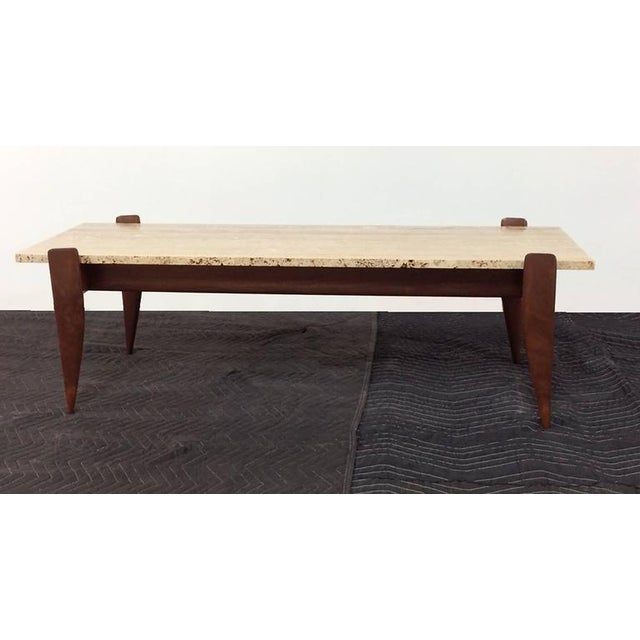 Gio Ponti for M. Singer & Sons Walnut and Travertine Coffee Table - Image 5 of 6