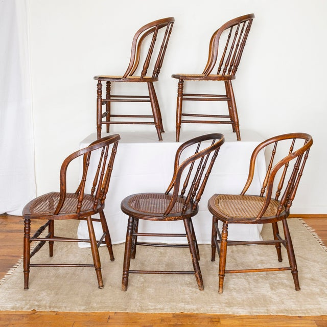 19th Century Vintage Cane Seat Spindle Back Windsor Primitive Bow Back Chairs For Sale - Image 13 of 13