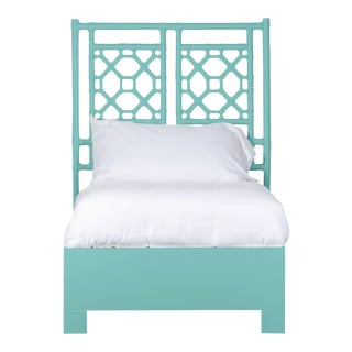 Lattice Back Bed Twin Extra Long - Turquoise For Sale