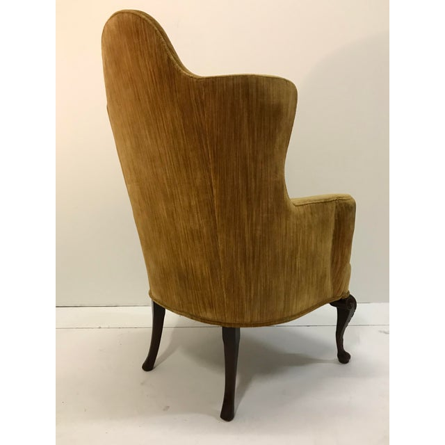Early 20th Century Early 20th Century Queen Anne Tall Barrel Back Wingback Parlor Fire Side Chair Mahogany Cabriole Leg For Sale - Image 5 of 13