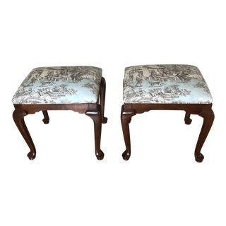 1980s Vintage Ethan Allen Georgian Court Cherry Benches Stools - a Pair For Sale