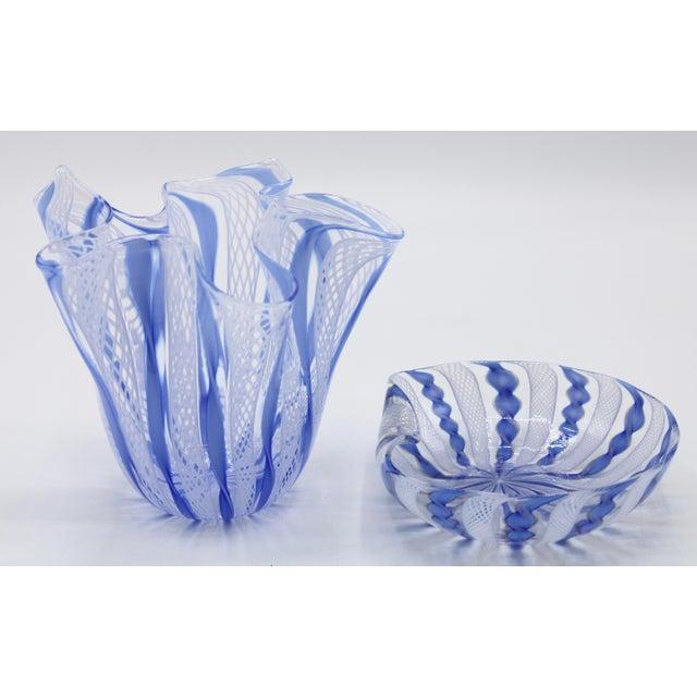 Mid Century Italian Murano Glass Blue Latticino Large Handkerchief Vase and Murano Zanfirico Latticino Glass Dish - Set of 2 For Sale In Tulsa - Image 6 of 10