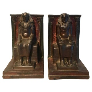 Pair of Copper Egyptian Pharaoh Bookends For Sale