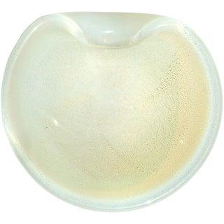 Murano Vintage Fiery Opalescent Gold Flecks Italian Art Glass Decorative Mid Century Dish Bowl For Sale