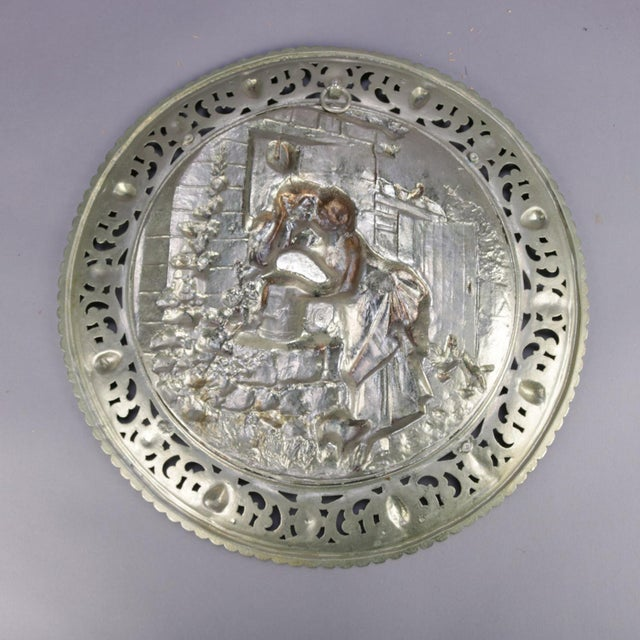 """Antique Gilt Silver High Relief Charger """"Am Brunnen"""" 'At the Fountain' For Sale - Image 4 of 7"""