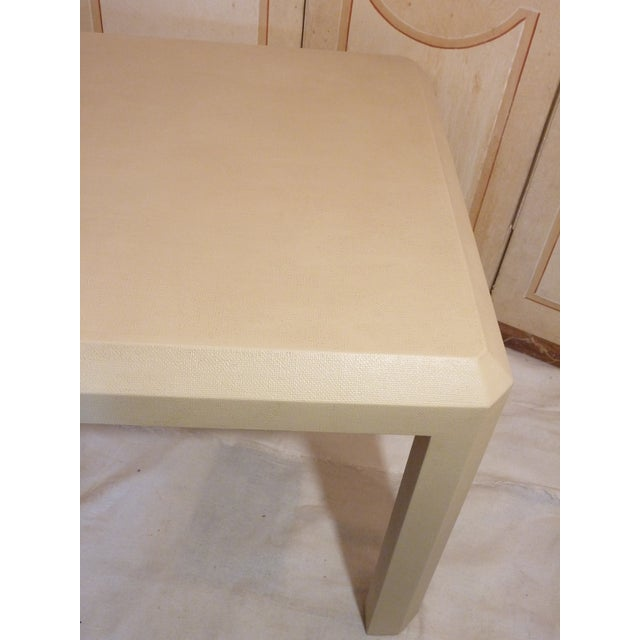 Traditional Linen Wrapped Parson's Table For Sale - Image 3 of 3