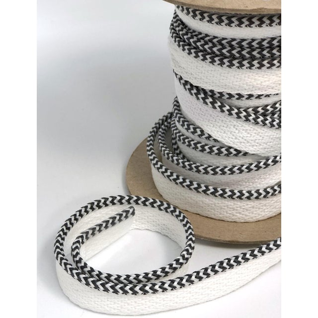 """Braided 1/8"""" Indoor-Outdoor Charcoal/White Cord For Sale - Image 4 of 7"""