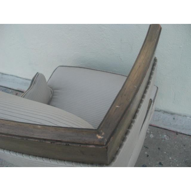 1960s Vintage Custom Upholstered Monumental Wingback Chair For Sale In Los Angeles - Image 6 of 10