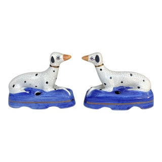 Staffordshire Dalmation Dog Pen Holder Inkwell- a Pair For Sale