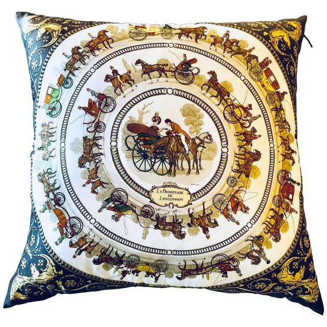 Enormous Hermes 'La Promenade De Longchamps' Overstuffed Silk Pillow For Sale - Image 11 of 12