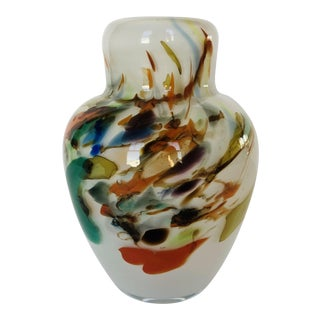Mid Century Fostoria Hand Blown Art Glass Vase For Sale
