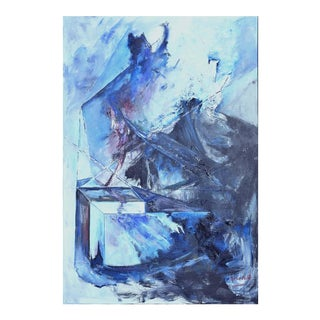 Blue & Black Abstract Expressionist Painting