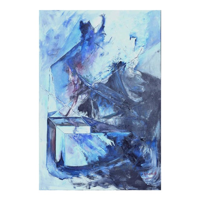 Blue & Black Abstract Expressionist Painting - Image 1 of 5