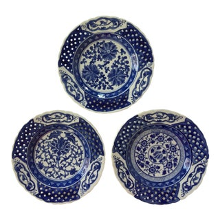 Set of 3 Different Chinese Export Blue & White Pierced Plates For Sale