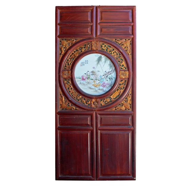 1940s Chinese Vintage Round Porcelain Scenery Wood Wall Panel Art For Sale - Image 5 of 8