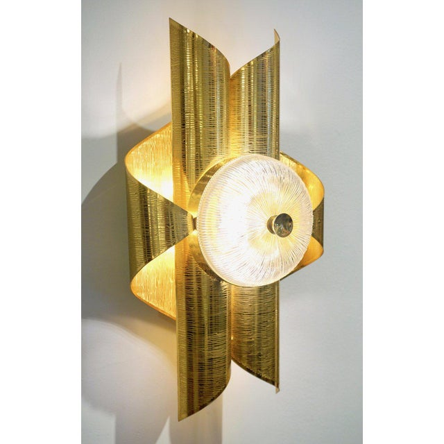 Art Deco Vintage Late 1970s Modern Folded Brass and Clear Glass Sconces - a Pair For Sale - Image 3 of 13