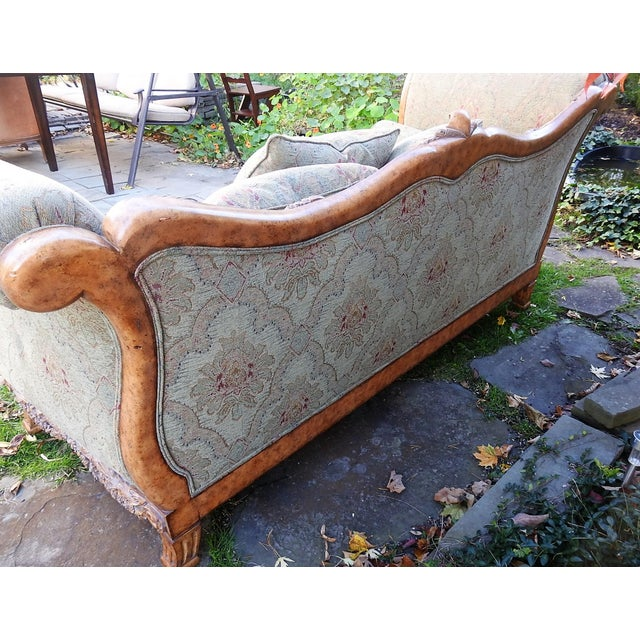Hollywood Regency Walter E. Smithe Carved Wood Sofa For Sale - Image 3 of 11