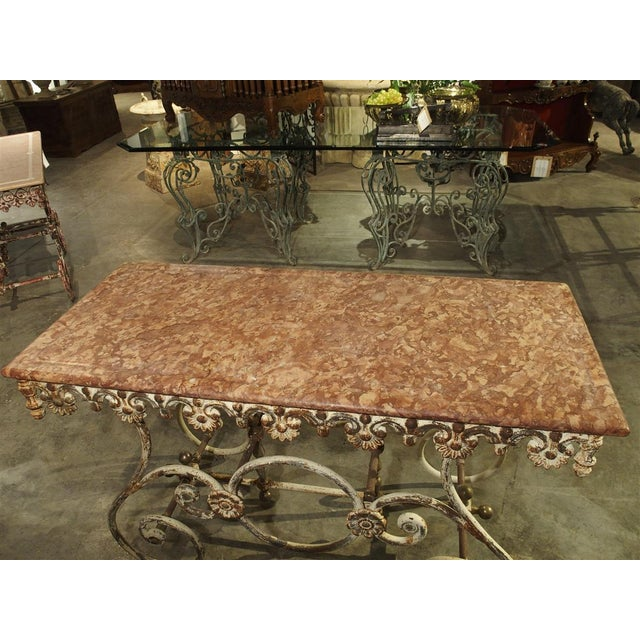 Fantastic 19th Century Iron and Bronze French Butchers Display Table With Rosso Verona Marble Top For Sale - Image 10 of 13