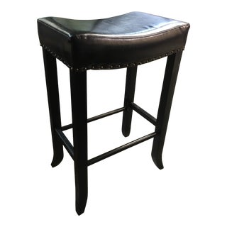 Classic Home Black Leather Bar Stool For Sale
