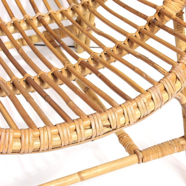 Bamboo 1960s French Rattan Lounge Chairs - A Pair For Sale - Image 7 of 8