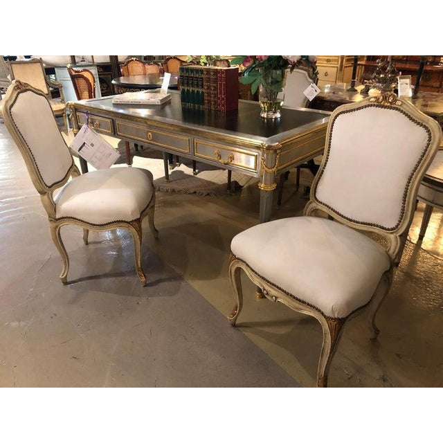 Labeled Jansen Fine Pair of Oversized Side or Desk Chairs in Parcel Gilt Paint For Sale - Image 12 of 13